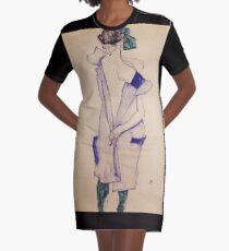 Egon Schiele - Standing Girl In A Blue Dress And Green Stockings Back View 1913 Graphic T-Shirt Dress