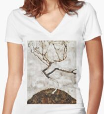Egon Schiele - Small Tree In Late Autumn (1911) Women's Fitted V-Neck T-Shirt