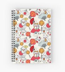 Maneki neko, Japanese fans and orange paper lanterns Spiral Notebook