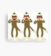 Hear, See, Speak No Evil Sock Monkeys Canvas Print
