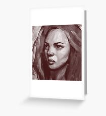 Colorful acrylic painting. Portrait of beautiful girl Greeting Card