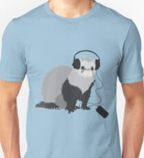 Funny Music Loving Ferret Unisex T-Shirt