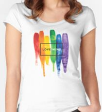 Watercolor LGBT Love Wins Rainbow Paint Typographic Women's Fitted Scoop T-Shirt
