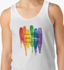 Watercolor LGBT Love Wins Rainbow Paint Typographic Men's Tank Top