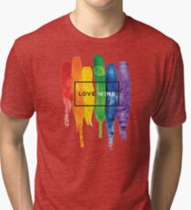 Watercolor LGBT Love Wins Rainbow Paint Typographic Tri-blend T-Shirt