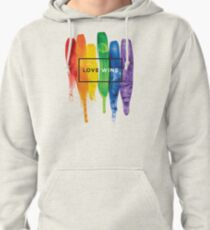 Watercolor LGBT Love Wins Rainbow Paint Typographic Pullover Hoodie