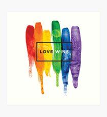 Lámina artística Acuarela LGBT Love gana tipografía Rainbow Paint tipográfico