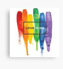 Watercolor LGBT Love Wins Rainbow Paint Typographic Metal Print