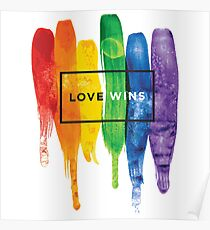 Watercolor LGBT Love Wins Rainbow Paint Typographic Poster