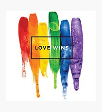 Watercolor LGBT Love Wins Rainbow Paint Typographic Photographic Print