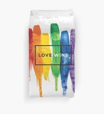 Watercolor LGBT Love Wins Rainbow Paint Typographic Duvet Cover