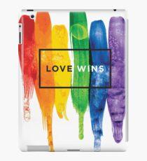 Watercolor LGBT Love Wins Rainbow Paint Typographic iPad Case/Skin