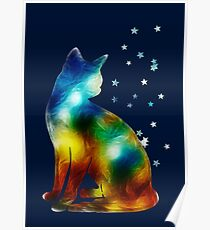 Galactic Space Cat On Milky Way, Cat, Space, Galaxy Poster