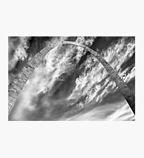 Saint Louis Gateway Arch and Clouds - Black and White Photographic Print