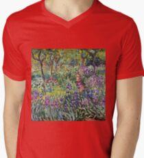 Claude Monet - The Artist S Garden In Giverny 1900 Mens V-Neck T-Shirt