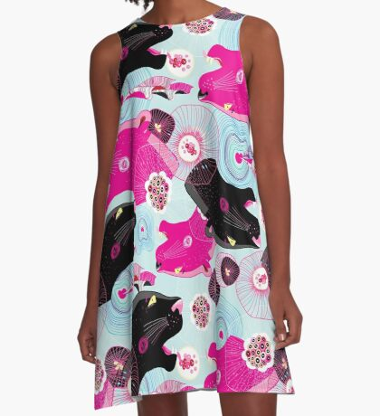 Fashionable pattern with panther heads A-Line Dress