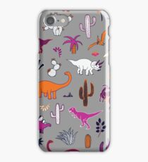 Dinosaur Desert - pink & orange on grey iPhone Case/Skin