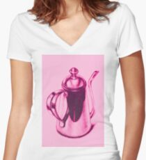 Metallic, shiny, glossy drawing of teapot isolated. Women's Fitted V-Neck T-Shirt