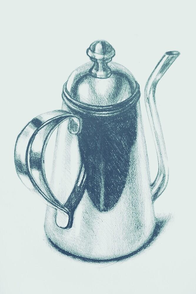 Metallic, shiny, glossy drawing of teapot isolated. by oanaunciuleanu