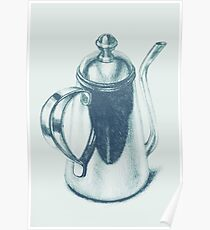 Metallic, shiny, glossy drawing of teapot isolated. Poster