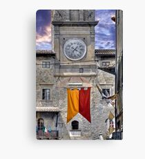 Cortona Tuscany clock tower Canvas Print