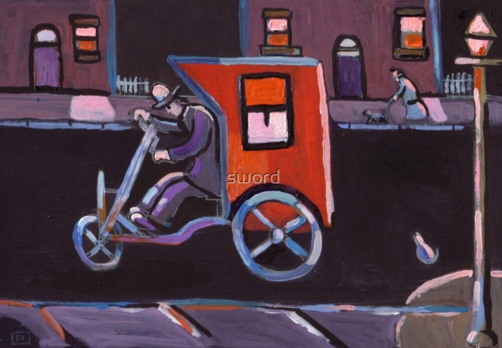 The contraption (from my original acrylic painting)L.S.LOWRY said that he actually saw a man using a contraption like this by sword