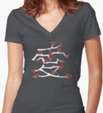 Chinese 'Ai' (Love) Calligraphy With Red Cherry Blossoms On White Branches | Japanese Sakura Kanji Women's Fitted V-Neck T-Shirt