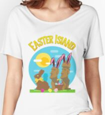 Easter Island Happy Easter Bunny Eggs Funny Moai Women's Relaxed Fit T-Shirt