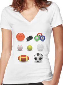 set of balls Women's Fitted V-Neck T-Shirt