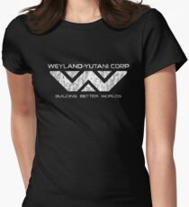 Weyland Yutani - Distressed White Logo Womens Fitted T-Shirt