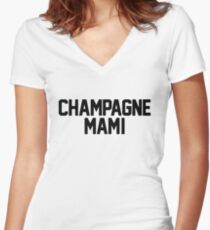 Champagne Mami [White] Women's Fitted V-Neck T-Shirt