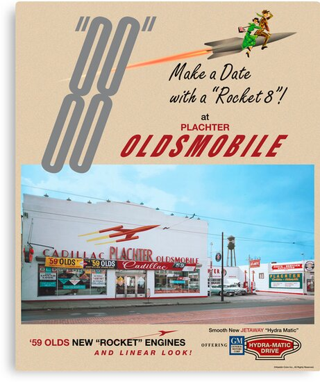 Plachter Oldmobile Car Dealership Ad 1959 Reproduction by aladdincolor