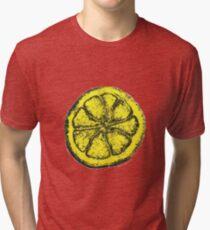 Yellow Silkscreen Lemon / The Stone Roses inspired Tri-blend T-Shirt