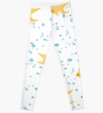gold fish in water bubbles aqua  Leggings