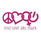 Peace Love Girl Power Symbol in Pink by jitterfly