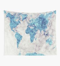 world map 52 blue Wall Tapestry