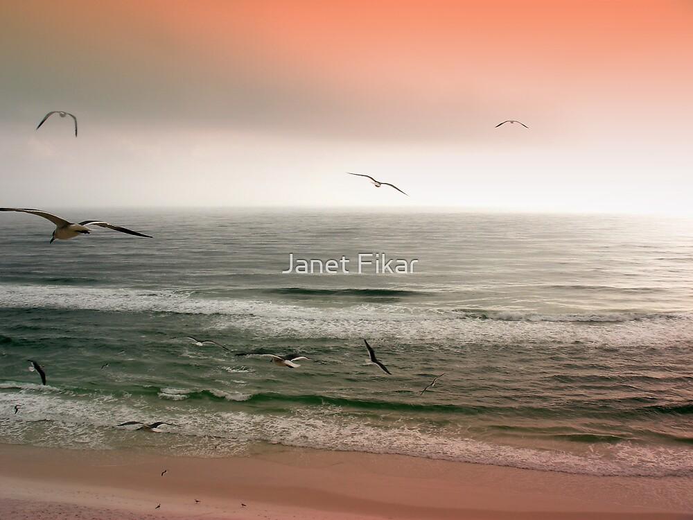 Sunset on the Seashore by Janet Fikar