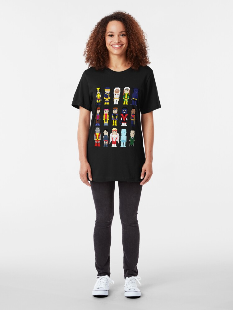 Alternate view of 8-Bit Superheroes: The New Mutants Slim Fit T-Shirt