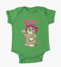 Resist Pink Pussy Cat in Hat One Piece - Short Sleeve