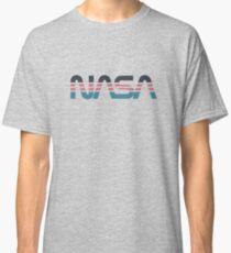NASA Worm Retro Grey-Red-Blue Classic T-Shirt