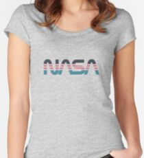 NASA Worm Retro Grey-Red-Blue Women's Fitted Scoop T-Shirt