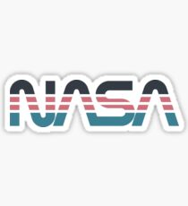 NASA Worm Retro Grey-Red-Blue Sticker
