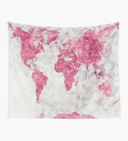 world map 53 red Wall Tapestry