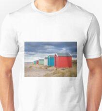 Coloured Beach Huts on Findhorn Beach, Scotland Unisex T-Shirt