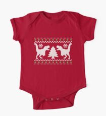 Ugly T-Rex Christmas Holiday Sweater Design One Piece - Short Sleeve