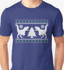 Ugly T-Rex Christmas Holiday Sweater Design Unisex T-Shirt
