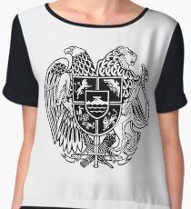 ARMENIAN COAT OF ARMS - Black Chiffon Top