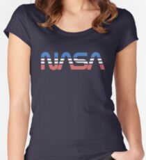 NASA Worm Retro Blue-Red-White Women's Fitted Scoop T-Shirt