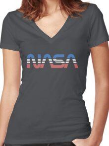 NASA Worm Retro Blue-Red-White Women's Fitted V-Neck T-Shirt