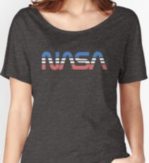 NASA Worm Retro Blue-Red-White Women's Relaxed Fit T-Shirt